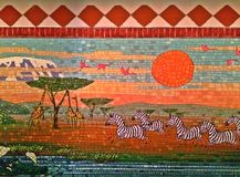 Marty and the Jungle Mural (selected portion). Marty and the Jungle Mural - selected portion showing the giraffes, zebras and other animals, based on the Royalty Free Stock Photography