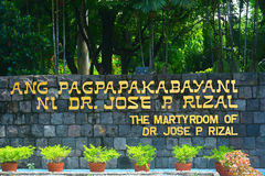 The Martydom of Dr. Jose Rizal sign in Manila, Philippines Royalty Free Stock Photos