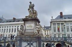 Martyr`-fyrkant i Bryssel, Belgien Arkivfoton