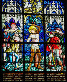 Martyrdom of Saint Sebastian - Stained Glass in Obernai Royalty Free Stock Photography