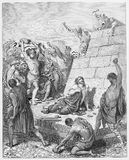 Martyrdom of Stephen is stoned. Martyrdom of Stephen - Picture from The Holy Scriptures, Old and New Testaments books collection published in 1885, Stuttgart royalty free illustration