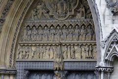 Martyrs on the north facade of Westminster Abbey. London - July 29, 2017: A close-up of the martyrs on the north facade of Westminster Abbey in 1998 Stock Photography