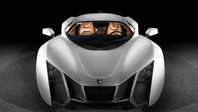 Marussia b2 front view. Novosibirsk, Russia - November 16, 2017: Marussia b2 front view. Photography of a Russian supercar on a black isolated background Stock Photography