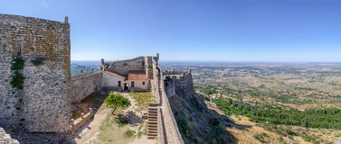 Marvao Castle bailey and keep with a view of the Alto Alentejo landscape. Stock Photo