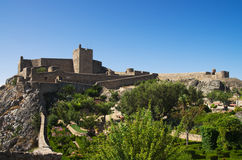 Marvao castle and garden under blue sky Royalty Free Stock Photos
