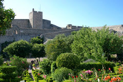 Marvao castle and its garden, Portugal. Ruins of the medieval castle of Marvao, Portugal Royalty Free Stock Photo