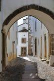 MARVAO PORTUGAL: En typisk smal lappad gata med kalkade hus och gallerier Arkivbilder