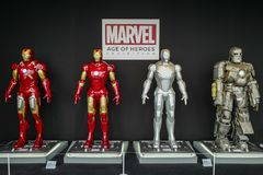 MARVEL AGE OF HEROS Exhibition holding in the Roppongi Hills. The Iron man models are displayed in the exhibit stock photos