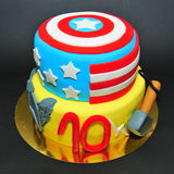 Marvel comics characters cake: Captain America and Thor Royalty Free Stock Photos