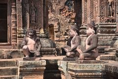 Marvel of Iconography. This lovely sculpting work by The Yogi-Sculptors of a bygone era at The Holy Temple of Bantaey Srei is over a Thousand yeras old. These Stock Photos