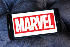 Marvel logo. Logo of the american marvel studios on samsung mobile phone Stock Photos