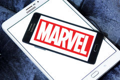 Marvel logo. Logo of the american marvel studios on samsung mobile phone on samsung tablet Royalty Free Stock Photography