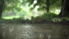 Marvellous steady close up satisfying slow motion shot of downpour rain drops falling on pavement asphalt concrete road. Marvellous close up steady satisfying stock video