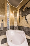 Marvellous stone bathroom resembling baths of Far East Royalty Free Stock Images