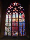Marvelous glass at Prague St.Vitus Cathedral stock photography