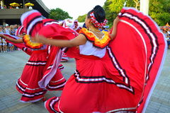 Marvelous Mexican dancing women close Stock Image