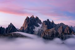 Beautiful morning at Dolomites, Italy royalty free stock photography