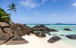 Paradise beach on Silhouette island, Seychelles. Marvelous paradise beach on Silhouette island, Seychelles royalty free stock image
