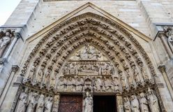Marvelous sculptural and architectural details of Notre Dame Cathedral in Paris France. Before the fire. April 05, 2019.  royalty free stock photography
