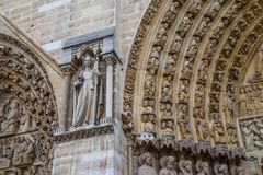 Marvelous sculptural and architectural details of Notre Dame Cathedral in Paris France. Before the fire. April 05, 2019.  royalty free stock photo