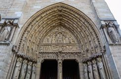 Marvelous sculptural and architectural details of Notre Dame Cathedral in Paris France. Before the fire. April 05, 2019.  royalty free stock images