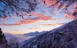 A marvelous sunset of snowy alps stock photos