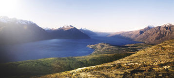 Marvelous View Lake Wakitipu Mountain Range Nature Concept Stock Images