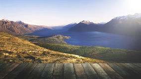 Marvelous View Lake Wakitipu Mountain Range Nature Concept Stock Photo