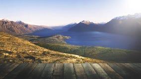 Marvelous View Lake Wakitipu Mountain Range Nature Concept Stock Photo