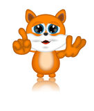 Marvin Cat Illustration Toon Cartoon Character Stock Foto's