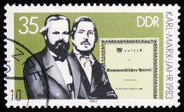 Marx och Engels, manifest, 100. dödårsdag av den filosofKarl Marx serien, circa 1983 arkivbilder
