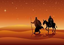 Mary и Иосиф, путешествие к Вифлеему иллюстрация вектора