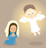 Mary and the Angel. Illustration of Mary praying and the visiting Angel Royalty Free Stock Image