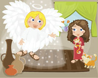 Mary. Angel speaking to Mary about the baby Jesus Royalty Free Stock Photo