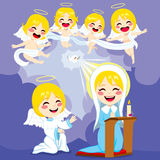 Mary And Angels Annunciation Scene Stock Images