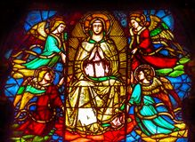 Mary Angels Stained Glass Window Orsanmichele kyrka Florence It Royaltyfri Fotografi