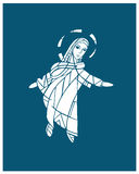 Mary Assumption. Hand drawn vector illustration or drawing of Virgin Mary on her Assumption to Heaven Royalty Free Stock Photos