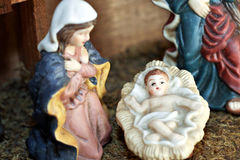 Mary and Baby Jesus. In nativity scene Stock Photos