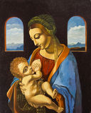 Mary and baby Jesus. Mary and nursing baby Jesus oil painting Royalty Free Stock Photos