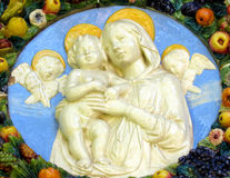 Mary and Baby Jesus with Angels Stock Photo