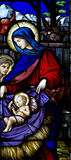 Mary and baby Jesus  stained glass. A photo of Mary and baby Jesus in stained glass Royalty Free Stock Photo