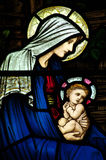 Mary and baby Jesus in stained glass Stock Photography