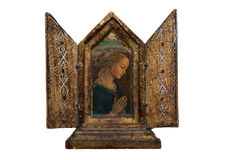 Mary in a beautiful gold frame. A picture of Mary, the mother of God Royalty Free Stock Photos