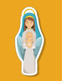 Mary cartoon and baby of holy night design Stock Images