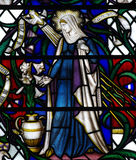 Mary and the Dove during the Annunciation (stained glass) Royalty Free Stock Images