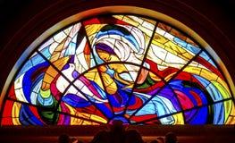Mary Dove Stained Glass Basilica von Dame des Rosenbeetes Fatima Portug stockbild