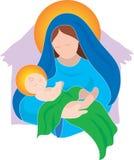 Mary en Baby royalty-vrije illustratie
