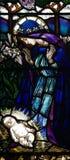 Mary en baby Jesus in gebrandschilderd glas Stock Foto's