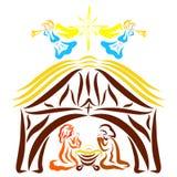 Mary en Josiah bidden naast de trog van Jesus, de engelen en de ster boven de stal royalty-vrije illustratie