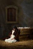 Mary enceinte et Manger Image stock